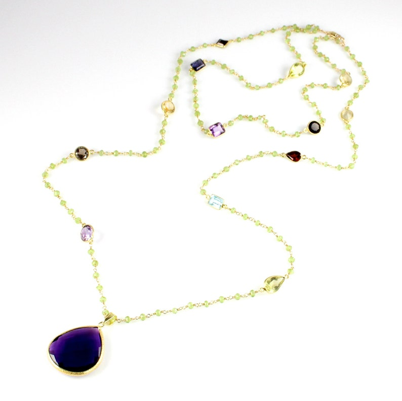 Large Amethyst Quartz Pendant and Peridot Chain Necklace image 0
