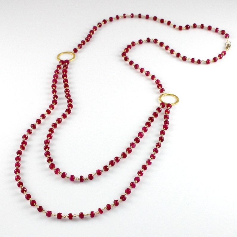 Ruby Necklace Long Double Strand image 0