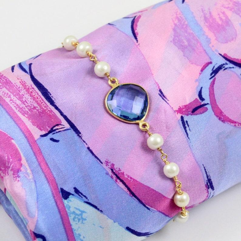 Blue Quartz and Pearl Bracelet image 0