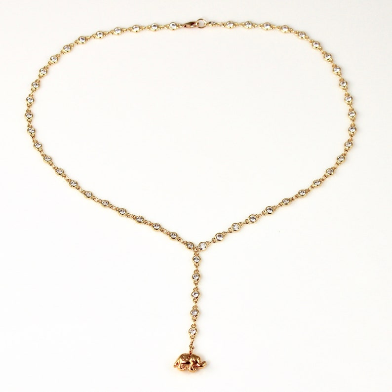 Crystal Gold Elephant Charm Lariat Y Necklace image 0