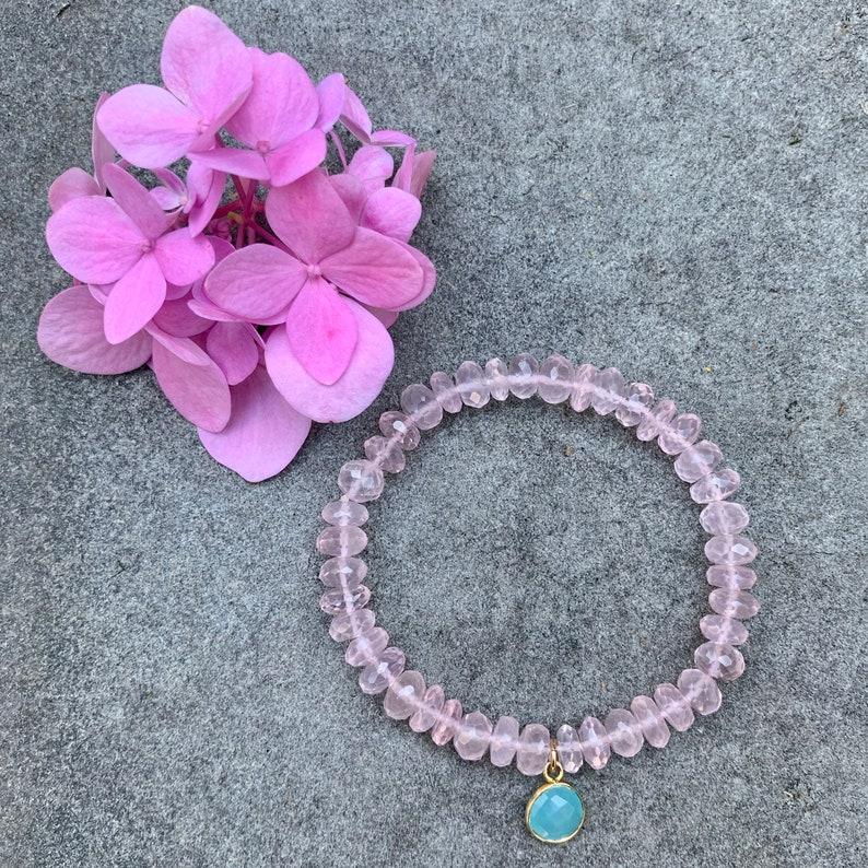 Pink Quartz Stretch Bracelet with Chalcedony Charm image 0