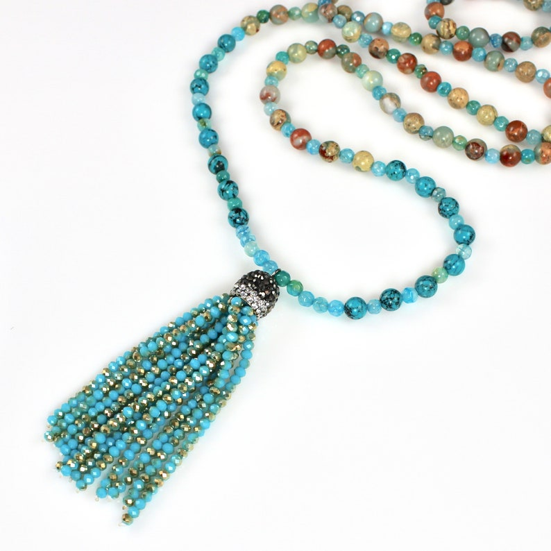 Long Beaded Necklace with Crystal Tassel image 0