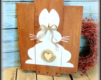 Bunny Sign - Bunny Silhouette - Easter Decorations - Rustic Wooden Sign - Pallet Style Decor - Rustic Easter Decor - Spring Decor -Wood Sign