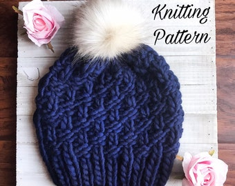 00c6ae914cf THE BAY BEANIE   Knitting Pattern   Knit beanie pattern   knit toddler  beanie pattern   adult knit hat pattern   knit hat