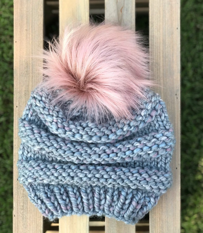 30f78d12f50 Adult Faux fur Pom pom Hat   Pom pom beanie   Knitted hat for