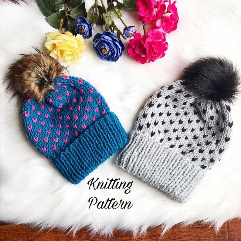 7e4346d19 KNITTING PATTERN   The Edith Beanie   Fair isle knitting   knit hearts  pattern   knit beanie pattern   knit hat pattern