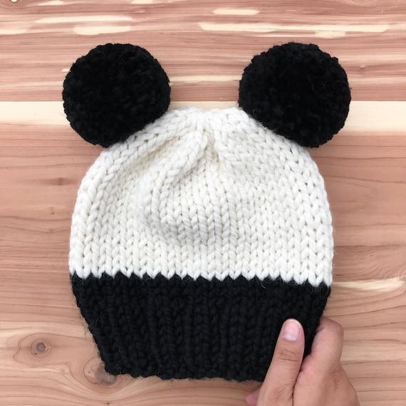 Knitted Panda Beanie Character Hat Pom Pom Beanie Etsy