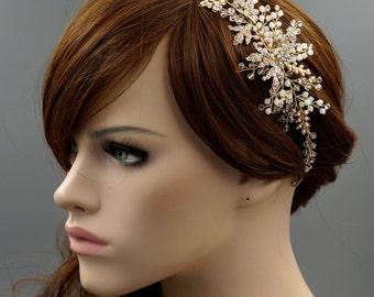 Bridal Hair Vine, Gold Hair Vine,  Gold Headpiece, Rustic Bridal Headpiece, Wedding Headpiece White Opal Crystal Hair Vine HMH03980