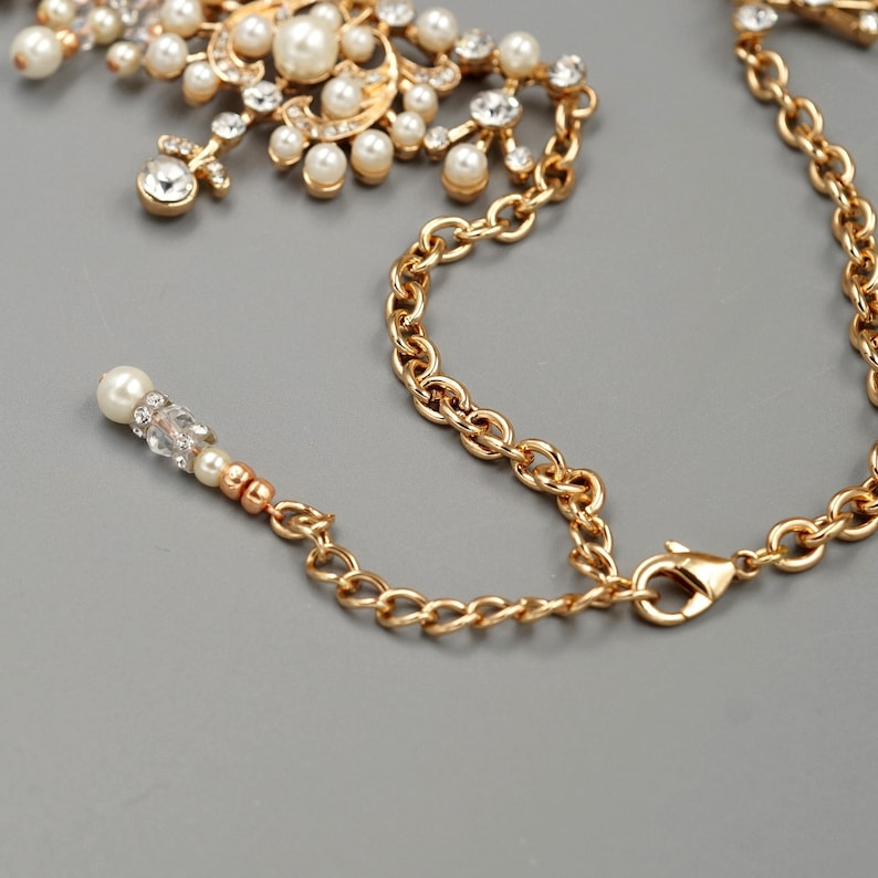 Bridal Jewelry Set,Pearl Wedding Necklace Set,Gold Victorian Necklace Set,Crystal earrings Necklace Set,statement necklace