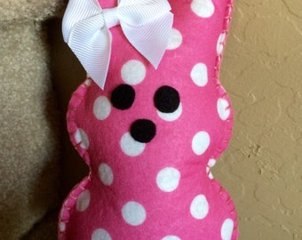 Glam Easter Peep, bubblegum pink with white polka dots, 7 inches tall