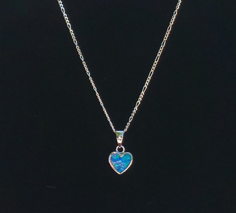 Sterling Silver .925 Blue Opal Heart Pendant+Sterling Silver Figaro Or Cable Chain Necklace For Woman Teens 925