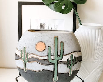 Vintage Cactus Shaped Vase ~ Green Ceramic Pottery Teal