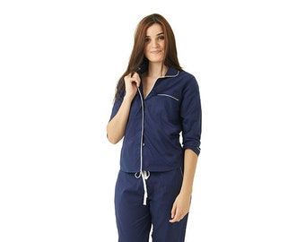 Cotton Pajamas - Classic Long Sleeve Blue with White Trim