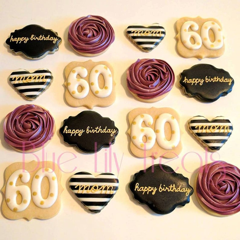 55494f7ef9 60th birthday cookies black and gold purple and white 50th