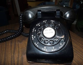 Vintage, Rotary Phone, Bakelite, Farmhouse Decor, French, Mid Century, Vintage Electronics, Telephone, Landline Phone, Desk Phone, Kellogg