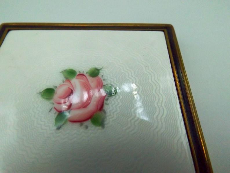 Powder Compact Vintage Evans Painted Enamel Compact Purse Mirror Victorian Brass Compact Makeup Case Hand Painted Rose Cloisonne