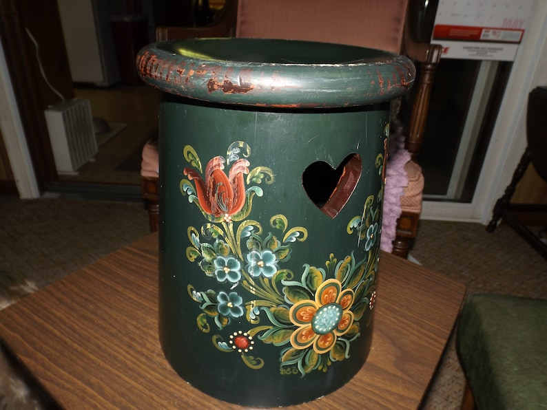 Miraculous Vintage Garden Seat Umbrella Stand Step Stool French Country Cottage Boho Folk Art Tole Hand Painted Childs Seat Drum Table Rare Frankydiablos Diy Chair Ideas Frankydiabloscom