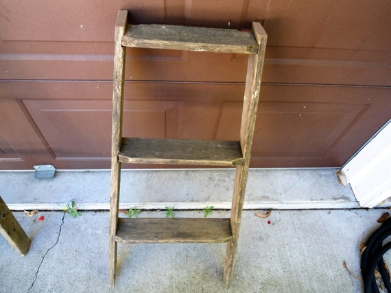 Pleasing Antique Wooden Ladder Small Wood Ladder Rustic Decor Farmhouse Primitive Decor Three Step Ladder Vintage Wooden Ladder Blanket Rack Pabps2019 Chair Design Images Pabps2019Com