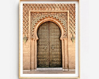 Print on fine art print or canvas - Moroccan gold - mausoleum door of Mohammed V - flap - Morocco - wall decor - travel