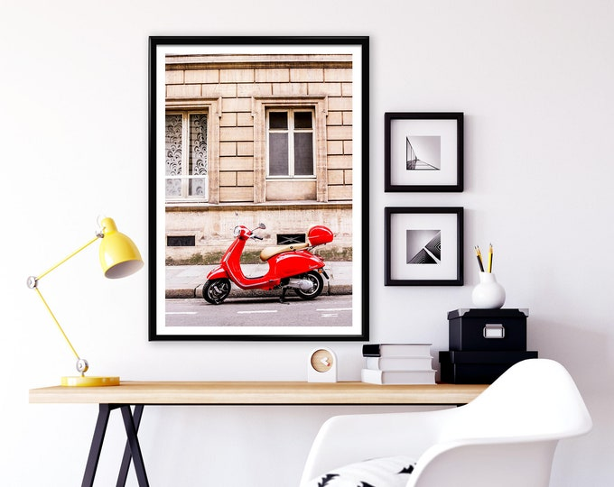 Photographie Fine Art d'un Vespa rouge à Paris - Toile Photo de Paris - France