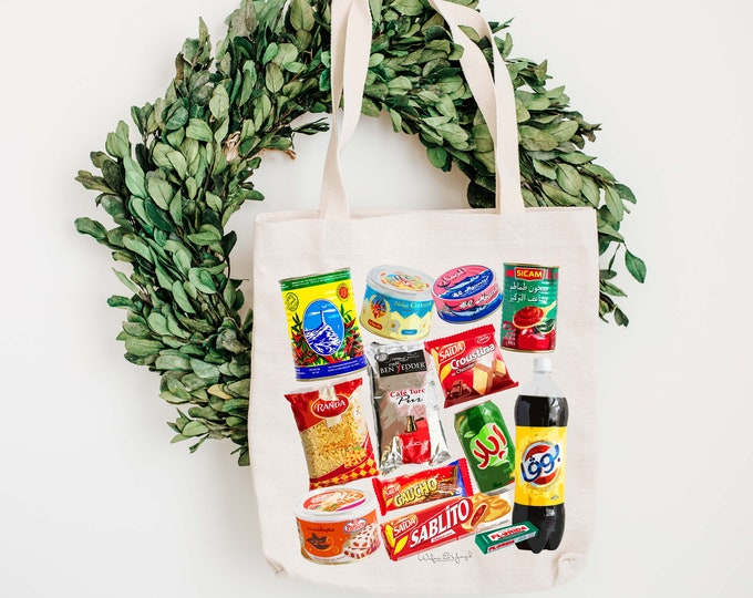 Tote Bag - Cotton ecru - Pop Art - Tunisian Grocery