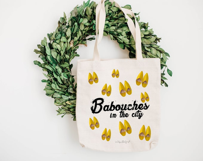 Tote Bag - Cotton ecru - Pop Art - Yellow Babouches - Babouches in the city