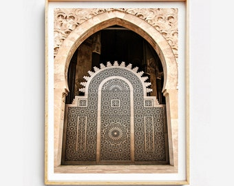 Print on fine art print or canvas - door Moroccan - mosque Hassan II - Casablanca - Morocco - wall decor - travel