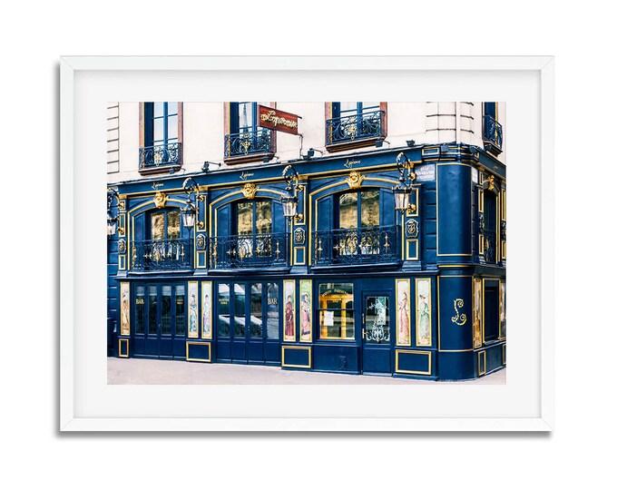 Photographie Fine Art d'un restaurant Parisien à la façade Bleu - Paris - France