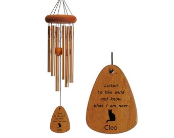 Cat Memorial Wind Chime-18 Inch Bronze, Loss of Cat Memorial Gift, Loss of Pet, Custom Memorial Wind Chime, Remembrance Gift, Sympathy Gift