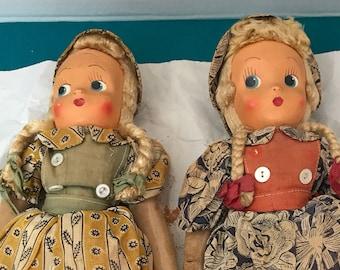 Pair of Vintage Polish Mask Dolls Gorgeous but need TLC