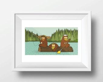 Digital Poster Beardy Bear Alaskan Lake