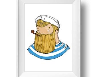 Digital Poster Beardy SAILOR