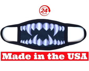 Silver Monster Teeth Soft and Breathable Double Layer Face Mask with Free Standard Shipping