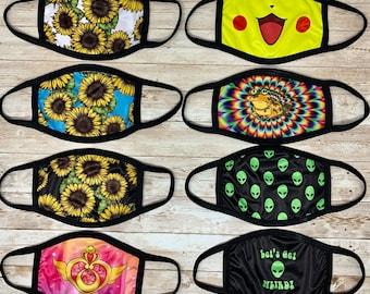 Large Face Masks for Men + Women Big Masks Washable Reusable Cloth Masks Made in USA \ Filter Pocket OR 2-Ply Face Covers