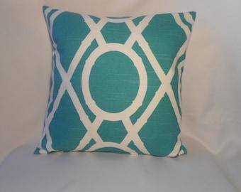 16 x 16 TurquoiseWhite Geometric Print Pillow Cover