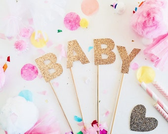 BABY gold glitter letter cake toppers - shiny cake decor