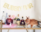 BUBBLY BAR gold glitter paper banner - Bar Party Decor