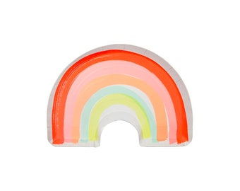 Rainbow Plates - Set of 12 - Paper Party Tableware