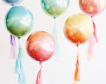 Ombre Gradient Balloon Orb - Round Sphere Metallic Foil Tassel