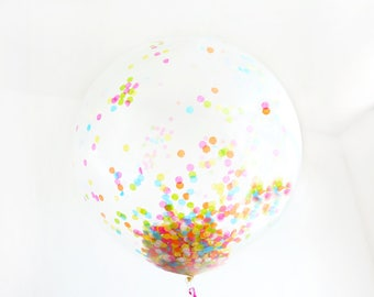 Confetti Balloon - Jumbo 36in Multicolor with Ribbons