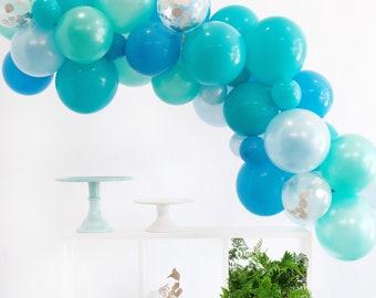 Sea Blues Balloon Garland Kit - Blues, Mint, Confetti  - Custom Size Balloon Arch DIY