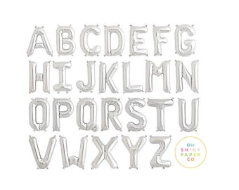 """JUMBO 34"""" Silver Letter Balloons 