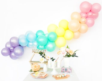 Pastel Rainbow Balloon Garland Kit - Magical Unicorn Party - Custom Size Balloon Arch DIY