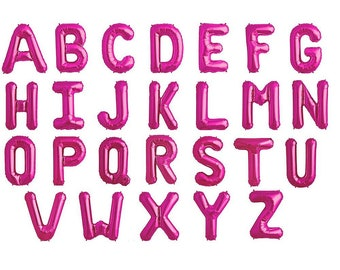 Magenta Pink Letter Balloons | small air filled 14 inch mylar letters