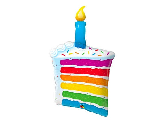 Astounding Rainbow Cake Balloon Jumbo Giant Birthday Cake Mylar Food Etsy Birthday Cards Printable Benkemecafe Filternl