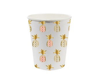 Pineapple Cups - Set of 8 - Paper Party Tableware with Gold Foil