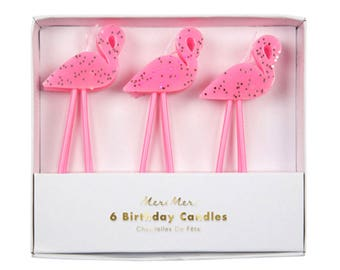 Flamingo Glitter Candles | 6 pack glitter tropical cake candles