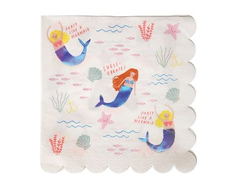 Mermaid Napkins - Set of 16 - Paper Party Tableware for Mermaid Under the Sea Party