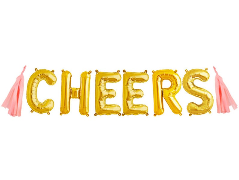 CHEERS Gold letter balloon banner KIT