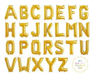 "JUMBO 34"" Gold Letter Balloons | Helium or Air Filled Mylar Foil Letters"